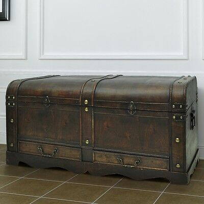 #bNEW  VINTAGE LARGE WOODEDN TREASURE CHEST TRAVEL CHUNK COFFEE TABLE