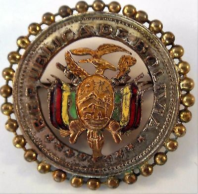"Vintage Republica de Bolivia Pin~Bolivian Republic Coat of Arms~1.75"" Brass"