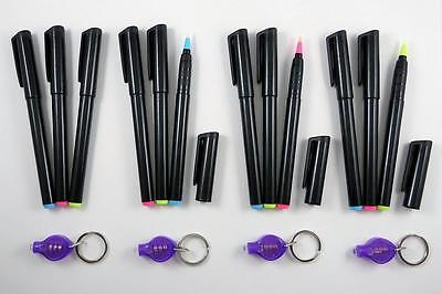 12 Invisible Blue Red Yellow UV Ink Markers with 4 UV Pinch Lights