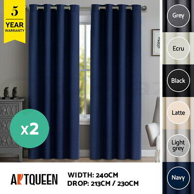 Art Queen 2X Blockout Eyelet Curtains Blackout Room Darkening 240cmx213cm/230cm