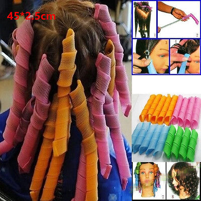 18Pcs Magic Hair Curlers Tool Curl Shaping Spiral Ringlet Leverag rollers 45CM