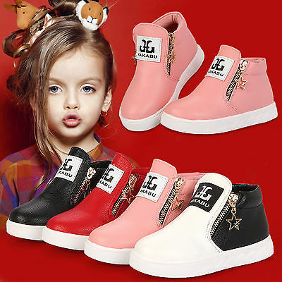 Kids Girls Boys Toddler Casual PU Leather Trainers Ankle Martin Boots Zip Shoes