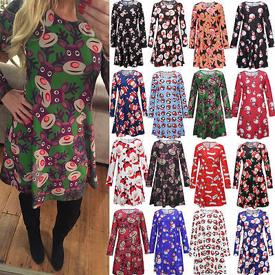 New Womens Ladies Long Sleeve Xmas Santa Gift Christmas Print Swing Flared Dress