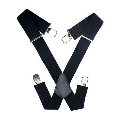 50mm Extra Wide Adjustable Elastic Mens Suspenders Clip-On Braces Trouser New BF