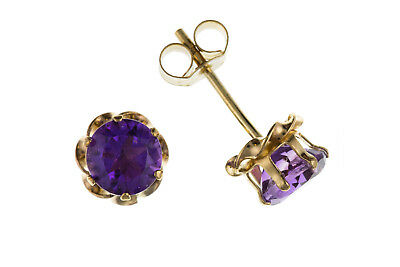 Amethyst Stud Earrings Solid 9 Carat Yellow Gold 5mm Studs Natural Stone