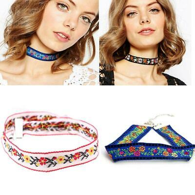 Vintage Fabric Choker Embroidered Flower Ethnic Style Boho Collar Necklace