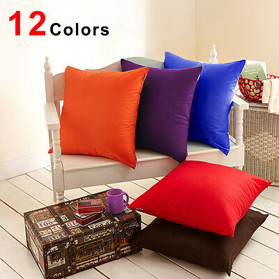 "New Solid Cotton Pillow Cushion Cover Home Decor Bed Sofa Throw Case 18""x18"""
