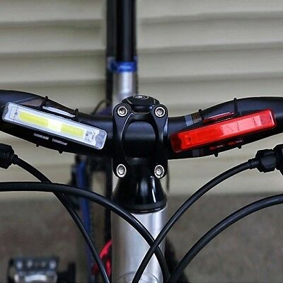 USB Rechargeable LED Bike Bicycle Cycling Front Rear Tail Warning Light RX