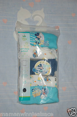 lot 5 bodys neufs disney mickey taille naissance manches courtes