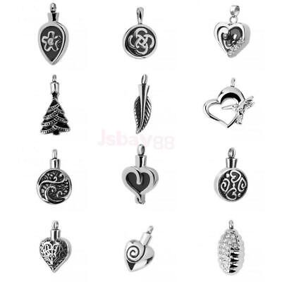 Silver Leaf/Round/Heart Cremation Ashes Urn Memorial Pendant for Necklace