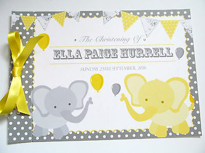 Personalised Guest Book Birthday Christening Baby Shower Elephants Bunting Dots