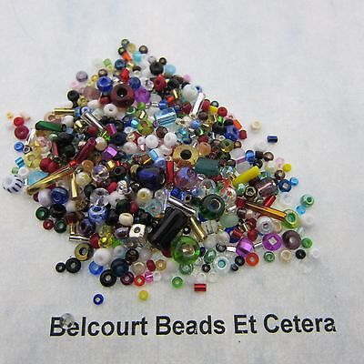 50 Grams Mixed Glass Czech Seed and Bugle Beads - Seed to Pony Mix
