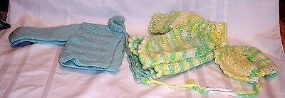 Vintage Hand Knitted pair of Infant Baby Sweaters with one matching Bonnet