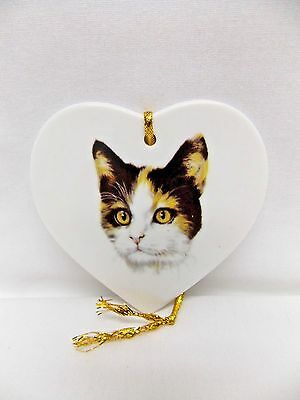 Calico Cat on a Heart Christmas Tree Ornament Porcelain Fired Head Decal
