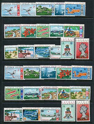 CAYMAN ISLANDS QEII Definitives 1969-70 MNH to £1 $1 2 Sets 31 Stamps