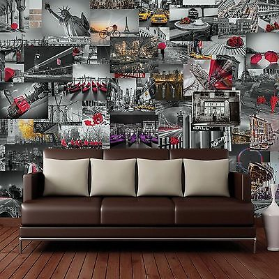 Creative Collage 64 Piece Designer Wall Mural City Scapes Landmarks Wallpaper