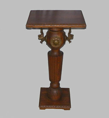 Antique Oak Pedestal Stand with Fancy Brass Decorations