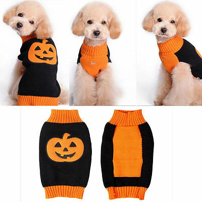 Pet Pumpkin Sweater Dog Halloween Clothes Puppy Cat Hoodie Coat Costumes Apparel
