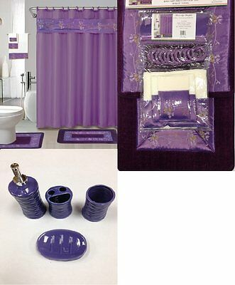 22Pc Bath Accessories ceramic Set Beverly Purple bathroom rugs shower curtain
