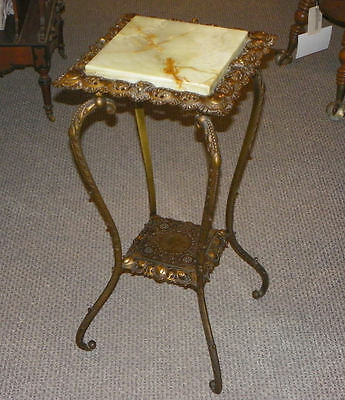 Antique Brass & Onyx Fern Table Stand made by Bradley & Hubbard