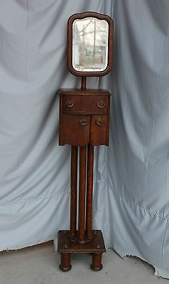 Antique Oak Shaving Stand - With Adjustable Mirror - Unique Piece