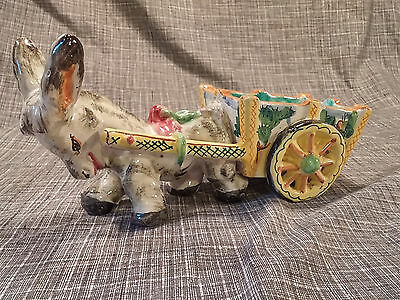 Vintage Hand Painted Pottery Donkey Cart Planter Colorful Vase Made in Italy Old