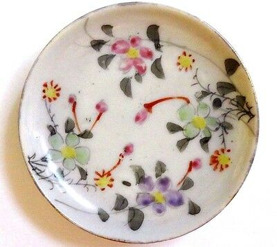 Vintage Butter Pat Porcelain White W Hand Painted Flowers