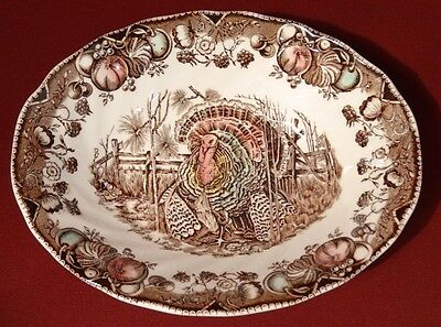 1955-83 Johnson Bros HIS MAJESTY Thanksgiving Turkey Oval Serving Vegetable Bowl
