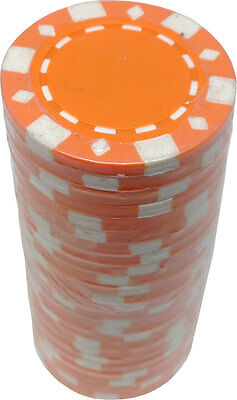 Poker Chips (25) Orange FAD 11.5 g Clay Composite FREE SHIPPING *