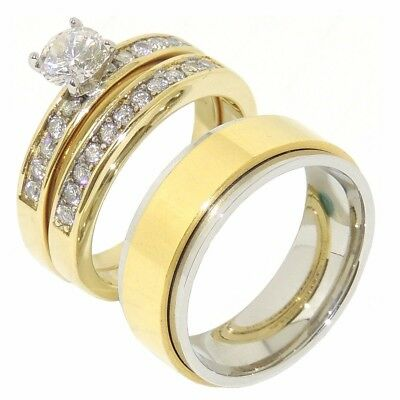 3 PCS HIS HERS Round CZ Gold IP Stainless Steel Wedding SET/ Mens Spinning Band
