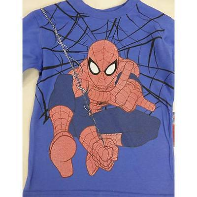 Spiderman Boys Long Sleeve T Shirt Blue With Spiderman Sizes  3, 4, 5, 6
