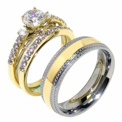 Couple His Hers Round CZ 14K Gold Stainless Steel Wedding SET Mens Matching Band