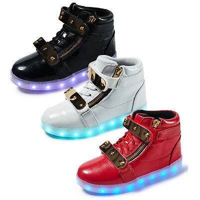 High Top LED Light Lace Up Unisex Sportswear Sneaker Luminous Shoes Casual Kids