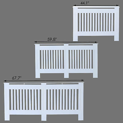 Radiator Cover Painted Slatted Cabinet MDF Vertical Modern Style White 3 Sizes