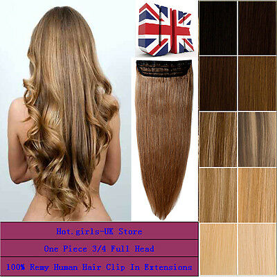 One Piece 100% Human Hair Remy Hair Clip In Extensions 3/4 Full Head I888