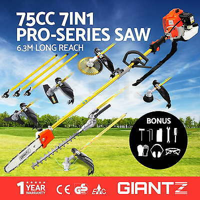 NEW 75cc Pole Chainsaw Brush Cutter Hedge Trimmer Petrol Long Reach Giantz
