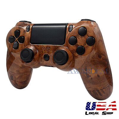Patterned Full Housing Shell Buttons Mod Kits for PS4 Controller Hard Wood