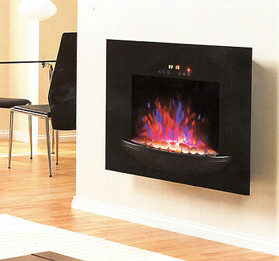 Electric Fireplace 1500W Heater Flame Heat Glass View Home Thermostat Adjustable