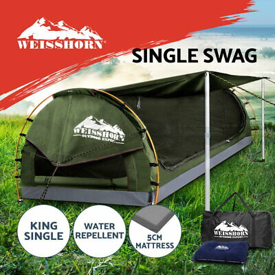 Weisshorn King Single Camping Swags Canvas Free Standing Dome Tent Bag
