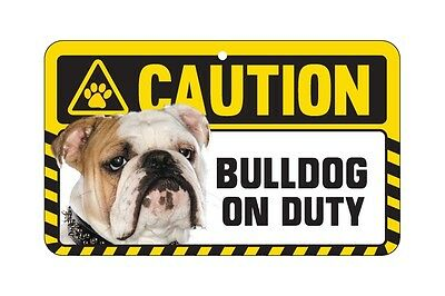 Dog Sign Caution Beware - Bulldog