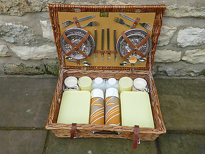 Vintage Brexton Picnic Set in Wicker Basket for 4 Persons