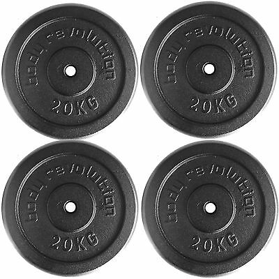 """4 x 20kg Cast Iron Weight Plates Barbell 1"""" Dumbbell Weights Home Gym Fitness"""