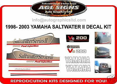 YAMAHA 200 V6 Saltwater Series II Decals also available in 115 140 175 225 250