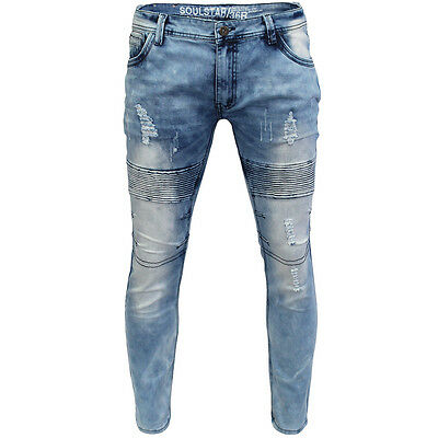 Mens Designer Soulstar Distressed Skinny Biker Jeans Ripped Washed Stretch Denim