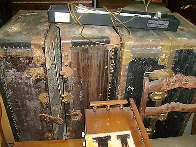 Antique vintage Sailor Steam trunk x 2 one appears complete hangers drawers