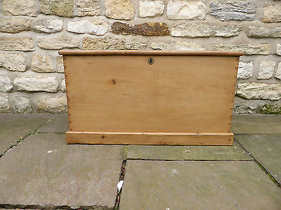 Victorian Pine Blanket Chest. Original Hinges+ Handles. Candle Tray