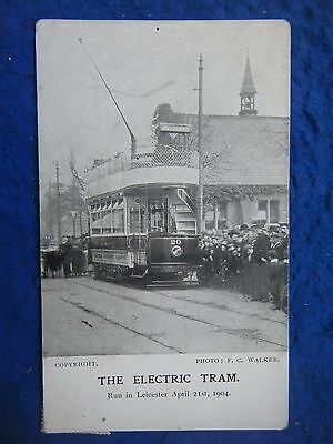 Leicester: Electric Tram April 1904 - Scarce Real Photo Postcard