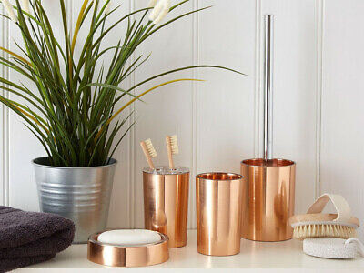 Shine Rose Gold Effect Abs Plastic Bathroom Accessory Tumbler Toothpaste Soap