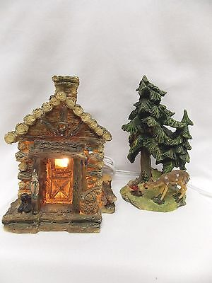 Light up Log House with Trees & Deer Resin Material Electric clip cord & bulb
