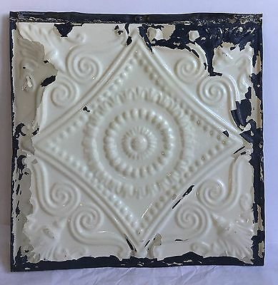 "1890's 12"" x 12"" Antique Tin Ceiling Tile Cream C16 Metal Anniversary Reclaimed"